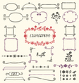 Doodle floral design elements vector image