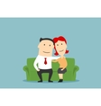 Family couple sitting on sofa and hugging vector image
