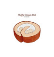fluffy cream roll hand draw sketch vector image vector image