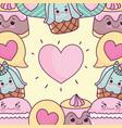 food cute heart sweet jelly cupcake macaroon vector image