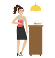 girl hostess with a badge at stand vector image vector image