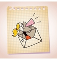 girl message loudhailer note paper cartoon sketch vector image vector image