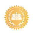 gold emblem with kings crown and laurel branches vector image