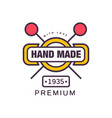 handmade premium logo template since 1935 retro vector image