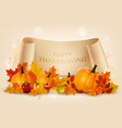 happy thanksgiving background with autumn vector image
