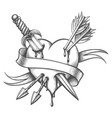 heart pierced knife and arrows tattoo vector image