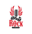 heavy rock logo emblem with vintage microphone vector image vector image