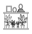 house shelf with plants and portraits vector image vector image