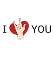 I love You hand sign with red heart vector image vector image