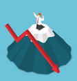 isometric businessman stuck on the top of mountain vector image vector image