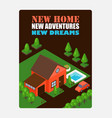 isometric house on inspirational poster vector image vector image
