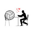 lover volleyball ball and guy in cafe lovers in vector image vector image