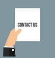 man showing paper contact us text vector image