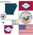 map arkansas with seal vector image vector image