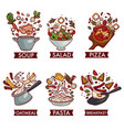 meals or dishes food meat fruit and vegetables vector image vector image