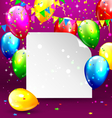 Multicolored inflatable balloons with paper frame vector image