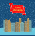 night city with falling snow and a red ribbon vector image vector image