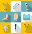 orthopedic disease icon set flat style vector image vector image