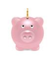 realistic 3d pink retro piggy bank closeup vector image vector image