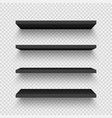 realistic black wall shelf collection on checkered vector image vector image