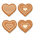 realistic gigngerbread heart collection vector image