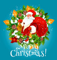 santa with christmas gifts bag vector image vector image