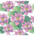 seamless background pink lotus water beautiful vector image vector image
