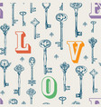 seamless pattern on theme love with old keys vector image vector image