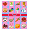 set of delicious desserts and healthy food sketch vector image