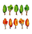 set of trees summer and autumn trees vector image