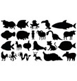set sihouette isolated objects theme - animals vector image