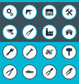 set simple wrench icons vector image