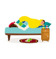 sick man in bed cold fever ill character vector image vector image