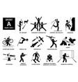 sport games alphabet a icons pictograph 3d archery vector image vector image