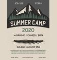 summer camp flyer a4 format mountain adventure vector image