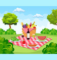 summer picnic concept with basket vector image vector image