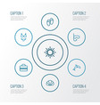 sun outline icons set collection of beachwear vector image vector image