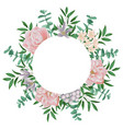 template with round frame and pink flowers vector image vector image