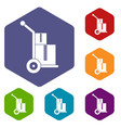 truck with boxes icons set hexagon vector image vector image