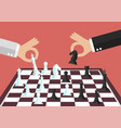 two business people playing chess vector image vector image