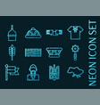 ukraine set icons blue glowing neon style vector image