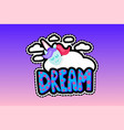 unicorn with sleep lettering patch vector image vector image
