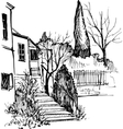 urban sketch house in the park vector image vector image