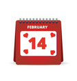 valentine day calendar vector image vector image