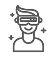 vr game line icon game and virtual vr glasses vector image vector image