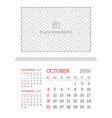 wall calendar planner template for october 2020 vector image vector image