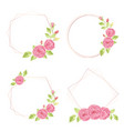watercolor hand draw pink english rose wreath vector image vector image