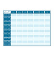 weekly template for seven days with timeline vector image vector image