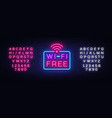 wifi neon sign wifi text design template vector image vector image