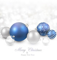 Winter background with blue christmas balls vector image vector image